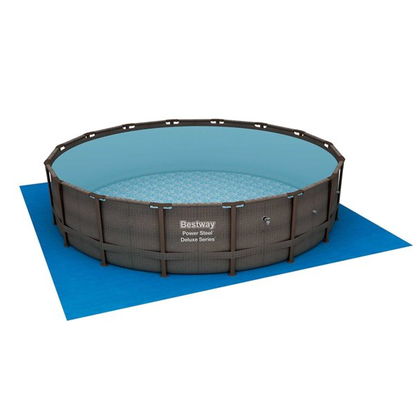 Bestway 14 x 42 Power Steel Frame Above Ground Swimming Pool Set with Pump