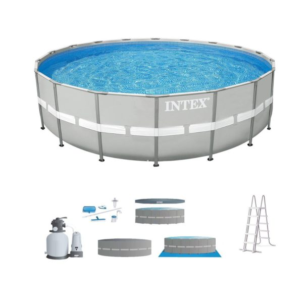 "Intex 24' x 52"" Steel Ultra Frame Round Above Ground Swimming Pool Pump Package"