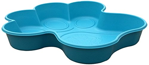 One Dog One Bone BPP02 Paw Shaped Dog Pool Made with Heavy Duty Truck Bed Liner Material Flexes like a paw for easy draining  Small  Blue