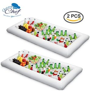 Inflatable Pool Table Serving Bar   2 pack Large Buffet Tray Server With Drain Plug   Keep Your Salads & Beverages Ice Cold   For Parties Indoor & Outdoor use Bar Party Accessories