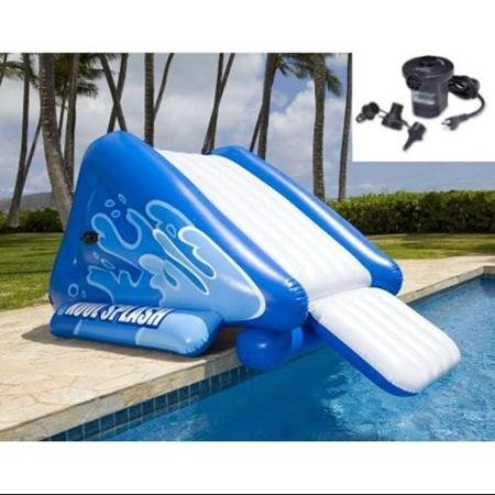 INTEX Kool Splash Inflatable Swimming Pool Water Slide + Quick Fill Air Pump