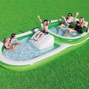 Bestway H2OGO! Two In One Wide Inflatable Family Outdoor Pool  Features Dual Pool and Slide Combo  Cup Holders  Easy Set Up  Green/White