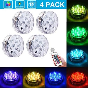 Submersible LED Lights [4 Pack] Waterproof light Multi Color Battery Operated Remote Control Wireless 10 LED Reusable light for Party Vase Christmas Aquarium Tub Shower Pond IP68 Submersible Light
