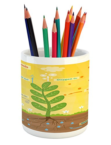 Ambesonne Educational Pencil Pen Holder  Cartoon Photosynthesis Oxygen Carbon Dioxide Sunlight and Water  Printed Ceramic Pencil Pen Holder for Desk Office Accessory  Earth Yellow Green Umber