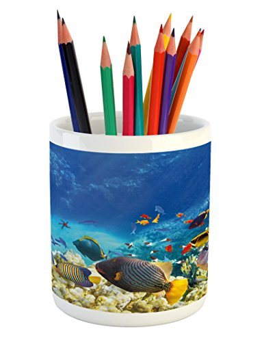 Ambesonne Fish Pencil Pen Holder  Fairy Underwater with Fish and Source of Oxygen Coral Aquatic Liquid Culture Scenery  Printed Ceramic Pencil Pen Holder for Desk Office Accessory  Multicolor
