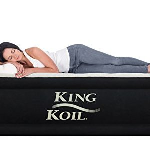 King Koil QUEEN SIZE Luxury Raised Air Mattress - Best Inflatable Airbed with Built-in Pump - Elevated Raised Air Mattress Quilt Top   1-year GUARANTEE
