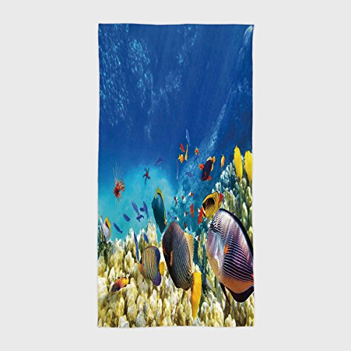 One Side Printing Hotel SPA Beach Pool Bath Hand Towel Ocean Decor Fairy Underwater with Fish and Source of Oxygen Coral Aquatic Liquid Culture Scenery Multi for Kids Teens and Adults