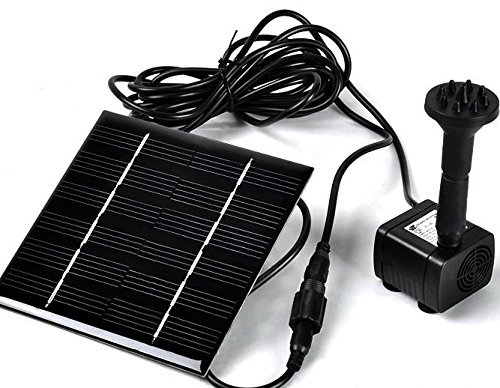 Sunnytech Solar Power Water Pump Kits - Garden Fountain Pool Watering Pond Pump Pool Aquarium Fish Tank with Separate Solar Panel and 3M Long Cable   4 Sprayer Adapters(Black)