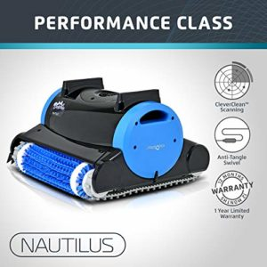 Dolphin Nautilus Automatic Robotic Pool Cleaner with Dual Filter Cartridges  Two Scrubbing Brushes and Tangle-Free Swivel Cord  Ideal for Swimming Pools up to 50 Feet