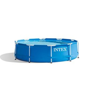 Intex 10 Foot x 30 Inch Round Metal Frame Backyard Above Ground Swimming Pool
