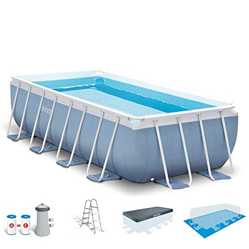 Intex 16ft X 8ft X 42in Prism Frame Rectangular Pool Set with Filter Pump  Ladder  Ground Cloth   Pool Cover