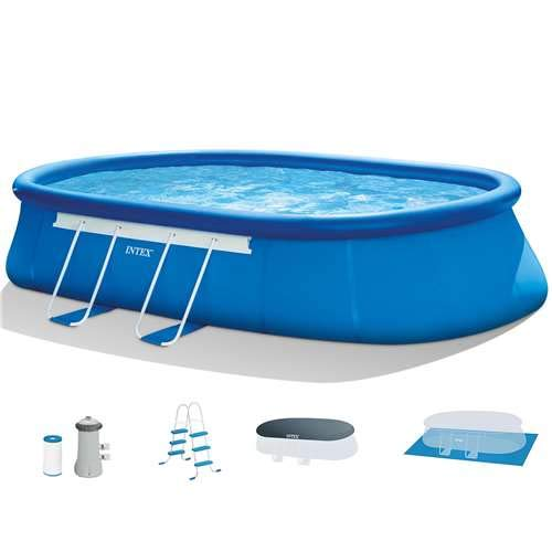 Intex 18ft X 10ft X 42in Oval Frame Pool Set with Filter Pump  Ladder  Ground Cloth   Pool Cover