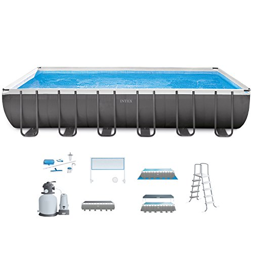 Intex 24ft X 12ft X 52in Ultra Frame Rectangular Pool Set with Sand Filter Pump   Saltwater System  Ladder  Ground Cloth  Pool Cover  Maintenance Kit   Volleyball