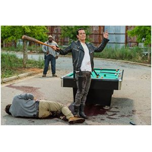 Jeffery Dean Morgan 8 Inch x10 Inch PHOTOGRAPH The Walking Dead (TV Series 2010 - ) Holding Bat Above Austin Nichols on Ground Next to Pool Table kn