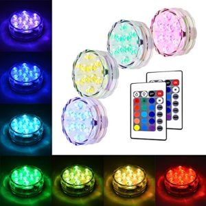 Litake Submersible LED Lights  RGB Multi Color Waterproof Remote Control Battery Powered Vase Lights for Fountain Pool Hot Tub Wedding Pond Decoration Centerpieces Vase Party - 4 Packs