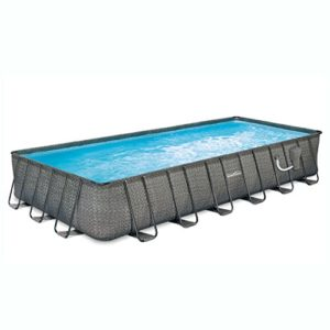 "Summer Waves 24' x 12' x 52"" Above Ground Rectangle Frame Pool Set  Dark Wicker"
